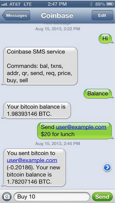 Coinbase enables users to buy, sell and send bitcoins via text message