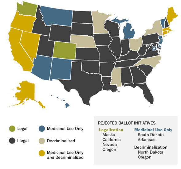 Current state-by-state laws regarding marijuana. Source: Washington Post